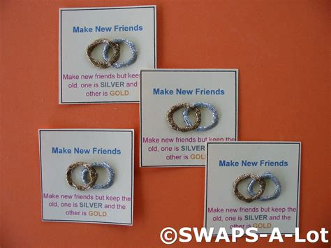 New 25 Quot Gold Metal Mini Make New Friends Silver Gold Swaps Kit For