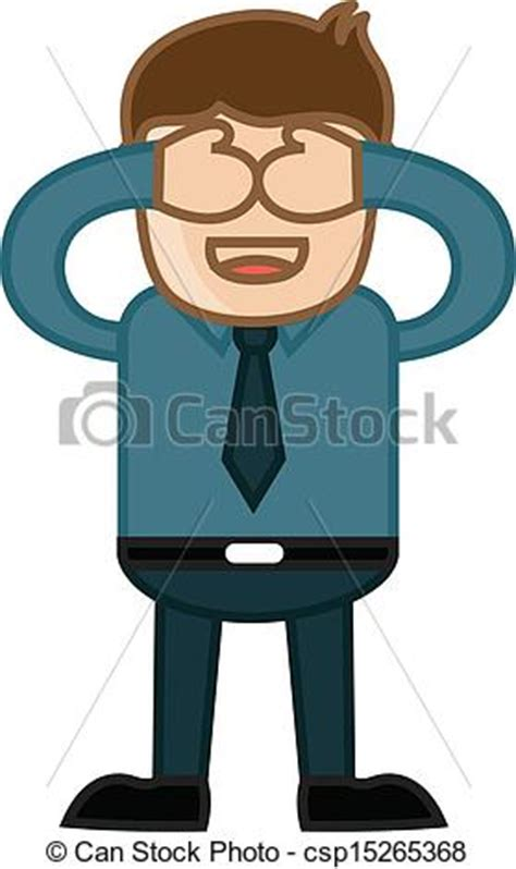 Clip Art Vector of Close Eyes   Business Cartoon   Drawing Art of Young Man  csp15265368
