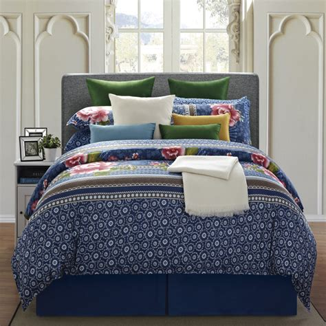 everrouge royal blue floral 8 piece cal king cotton