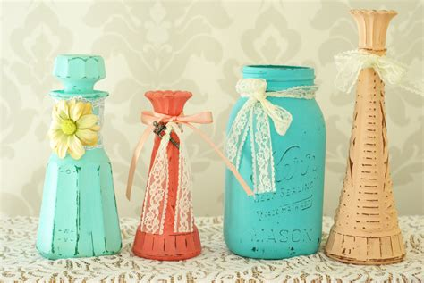 shabby chic vases wedding shabby chic vases wedding decor mint coral teal
