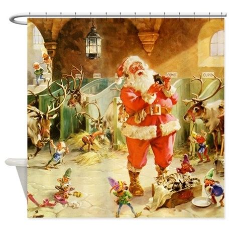 santa shower curtains santa in the north pole stables shower curtain by