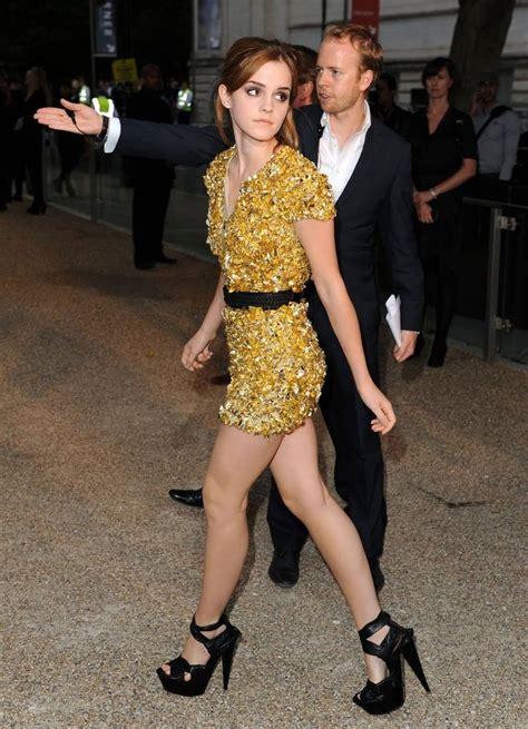emma watson yellow dress emma watson legs in a yellow dress and black high heels