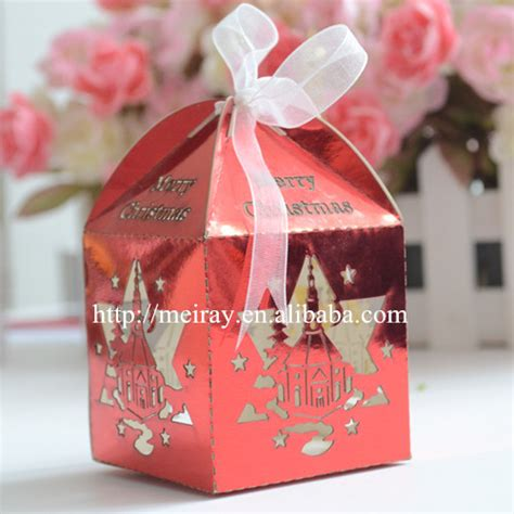 laser cut christmas decorated food box small metalic paper