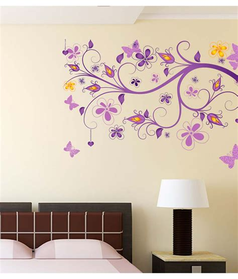 Wall Sticker Ay9006 60x90 stickerskart multicolor floral vine purple beautiful decorative decal for home office and living