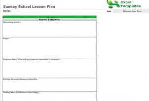 Bible Lesson Plan Template by Sunday School Lesson Plan Template Free Sunday School