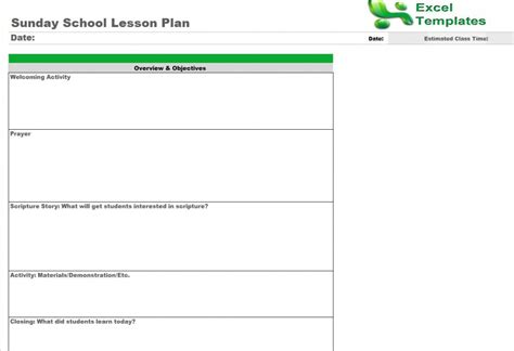 sunday school lesson plan template free sunday school