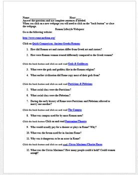 Rome Engineering An Empire Worksheet Answers by Rome Daily Webquest And Answer Sheet By History