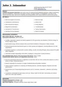 Resume Samples Electrician by Journeyman Electrician Resume Samples Career Life