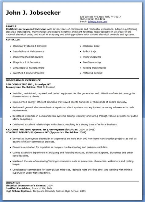 Resume Template Electrician by Journeyman Electrician Resume Sles Career