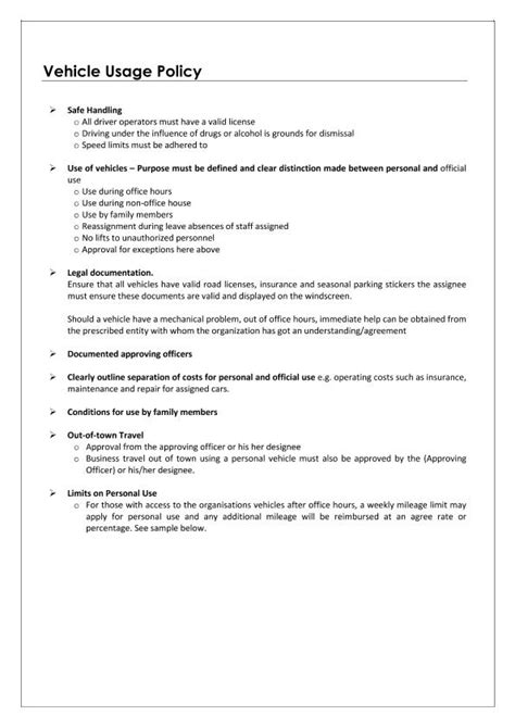 company driving policy template personal use of company vehicle worksheet photos