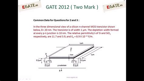 transistor gate capacitance problem on gate source capacitance of mosfet gate 2012 ec solved paper electron devices