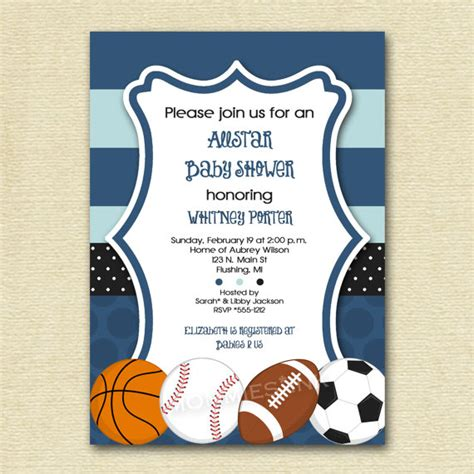 sports baby shower invitations templates 8 best images of sports theme printable templates free