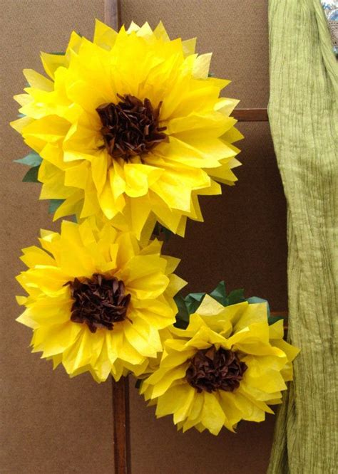 How To Make Sunflower Paper Flowers - large 12 quot and 8 quot tissue paper sunflowers