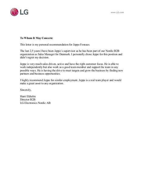 Complaint Letter To Lg Company Recommendation Letter Lg