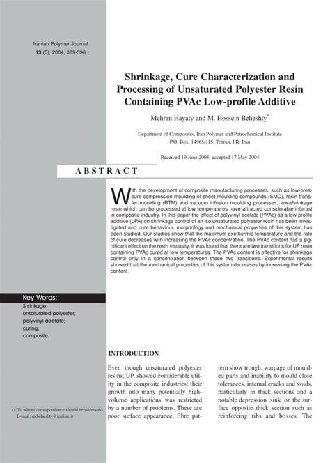 Polymer Morphology Principles Characterization And Processing shrinkage cure characterization and pdf available