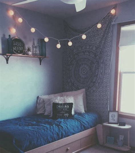 aesthetic room aesthetic bed blue fairylights fashion image 4009543 by lucialin on favim