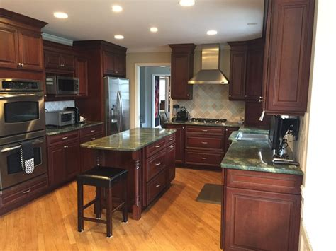 black stainless appliances with cherry cabinets gorgeous omega dark wood cherry complete kitchen new
