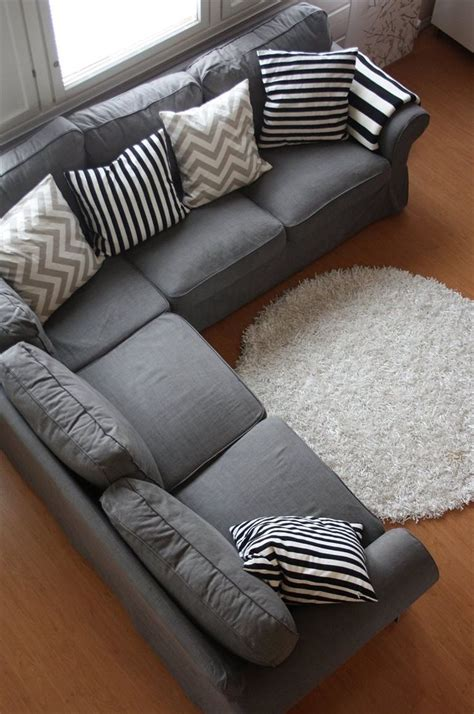 Grey Couch With Cool Pillows Could Also Add Some Accent