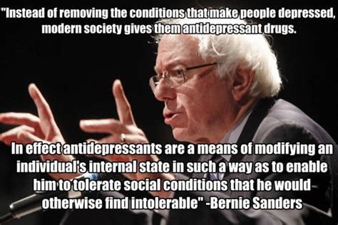 Anti Bernie Memes - internet graphic says bernie sanders slammed antidepressants but quote is actually the
