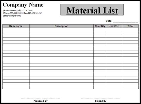 material list template list templates best word templates part 2