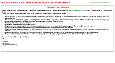 Experience Letter Driver tractor trailer truck driver experience letter sle