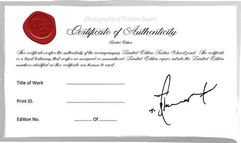limited edition print certificate of authenticity template policy consumer information tristan stuart photography