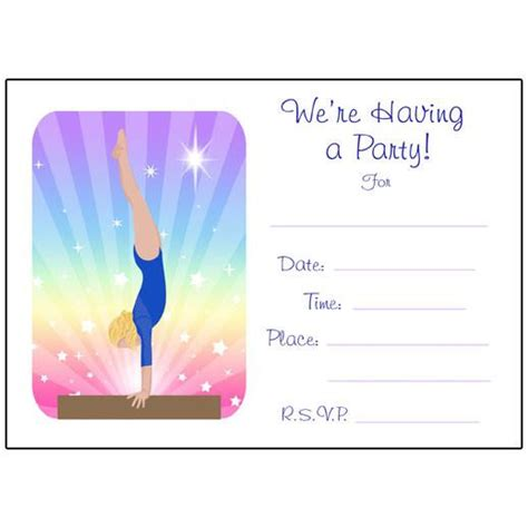 Gymnastics Dreams Fill In The Blank Birthday Party Invitations Beam Mandys Moon Personalized Gymnastics Birthday Invitation Templates