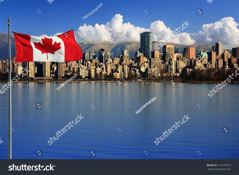 canadian flag front beautiful city vancouver stock photo 119379478