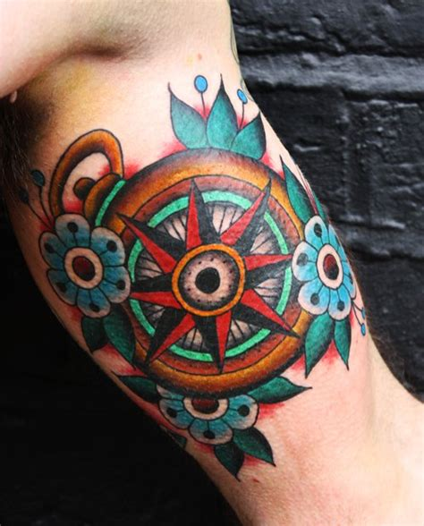 medium tattoos colorful design compass and colorful