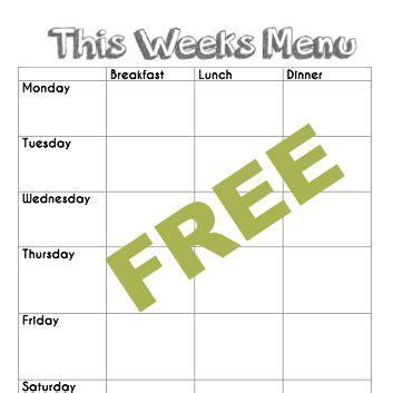 Free Blank Menu Planning Template And Weekly Menu Plan Exle Good Eats Pinterest Daycare Menu Template