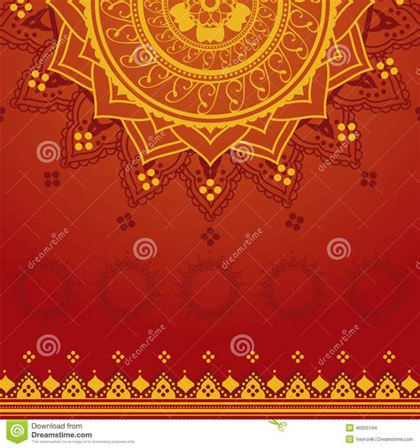 yellow indian pattern background yellow and red indian background stock vector image