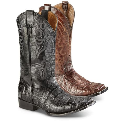 square toe mens cowboy boots coral circle g s caiman belly square toe cowboy boots
