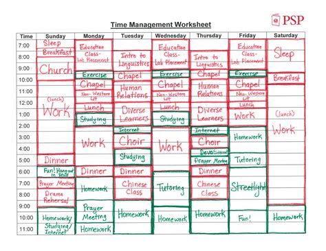 time management worksheets for college students time
