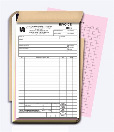 free printable invoice book invoice book free printable invoice