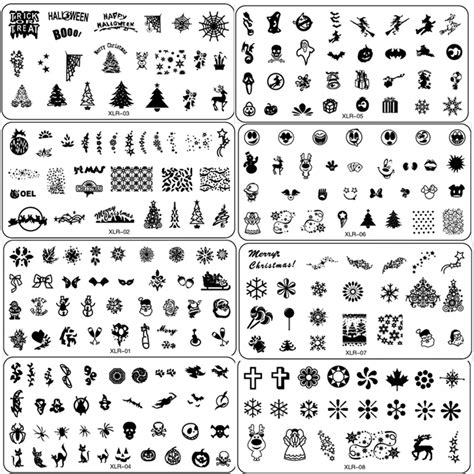 printable nail stencils art 20 designs set halloween christmas designs nail art