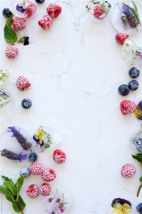 food background  frozen berries  flowers  ice