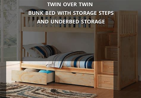 Bunk Beds Overstock Bartley Bunk Bed With Storage Steps Overstock Warehouse