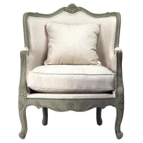 country accent chair adele country rustic white cotton arm accent