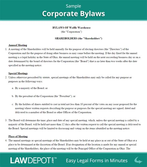 Corporate Bylaws Template Us Lawdepot Company Bylaws Template Free