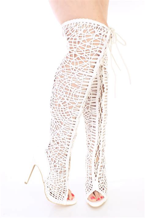 white lace up single sole thigh high boots faux leather