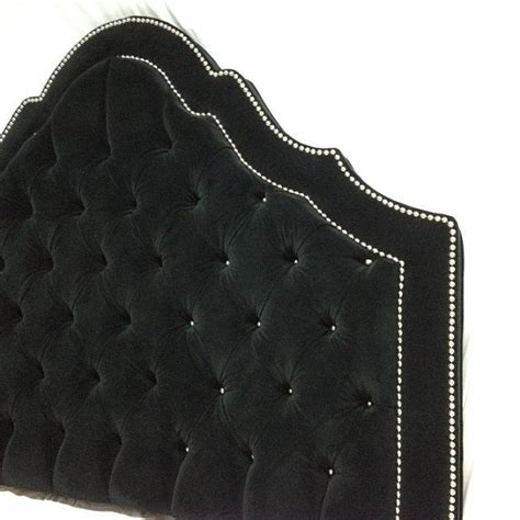 black velvet tufted headboard with double row of nailheads