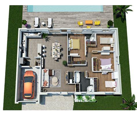 Plan De Maison Moderne 3d by Plan 3d Villa Contemporaine De Plain Pied Moderne Plans