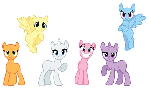 my little pony mane 6 base mane 6 base by mlp sugarsnap on deviantart