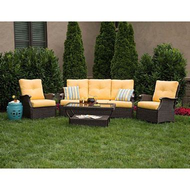 Yellow Patio Furniture Member S Stockton Seating Set With Premium Sunbrella 174 Fabric In Cornsilk Yellow 4