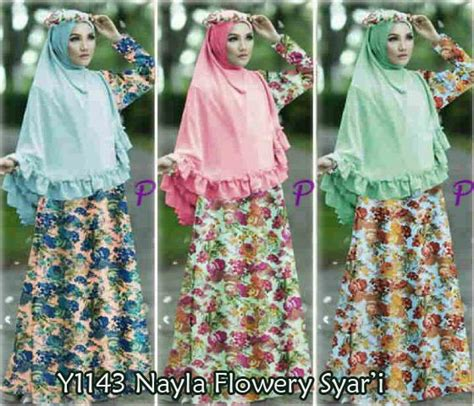 Flowery Syari gamis bergo nayla bunga y1143 busana muslim syar i xl