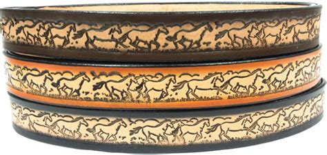 Handmade Belts Usa - horses running embossed leather belt leather belts usa