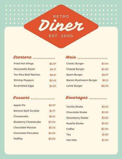 dinner menu customize 64 diner menu templates canva