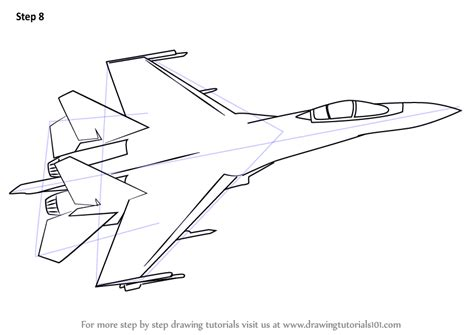 Learn How To Draw Sukhoi Su 35 Fighter Jets Step By Step The Jet Plane Coloring Pages