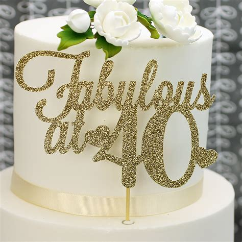 Gold Glitter 'Fabulous At 40' Cake Topper