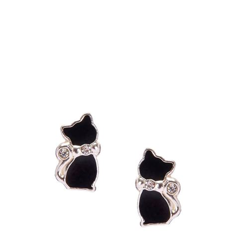 Black Cat Earring sterling silver black cat earrings s us